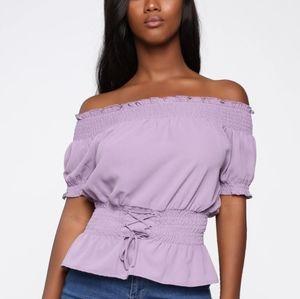 NWOT Off The Shoulder Top In Lavender
